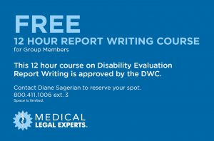 DWC Approved QME 12-hour Report Writing Course.